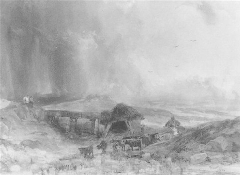 highland landscape with a storm approaching by samuel austin