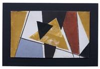 geometrische komposition in erdtönen vor weißem grund by erhard hippold
