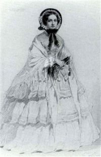 a pair of studies of fashion- able ladies by emile morin