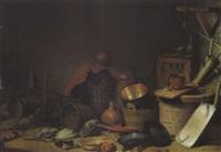 küchenstillleben mit einem brunnen, geschirr und geräten by pieter van steenwyck