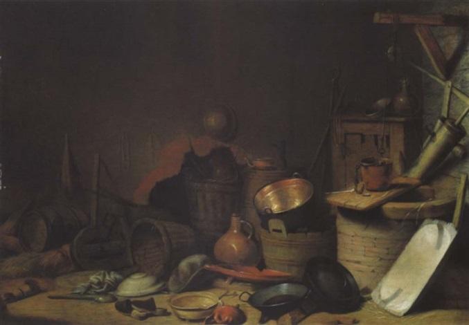 küchenstillleben mit einem brunnen geschirr und geräten by pieter van steenwyck