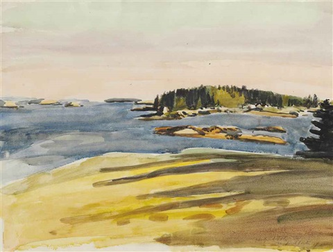 bear island sunset by fairfield porter