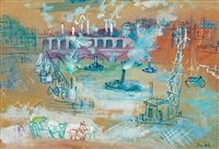 viaduc du point-du-jour, paris by jean dufy