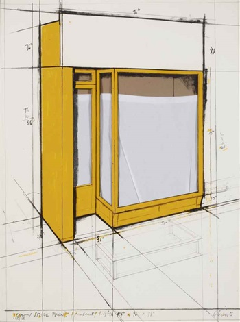 yellow store front project by christo and jeanne claude