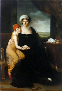 portrait of madame campan in a black dress, with a pupil in oriental costume, by a table with a bust, a landscape beyond by marie elénore godefroy