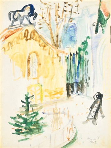 synagogue on the reverse gate sketch by imre ámos