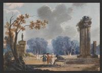assemblée de personnages dans un parc animé de ruines à l'antique et d'une perspective de frondaisons by gudrun haag