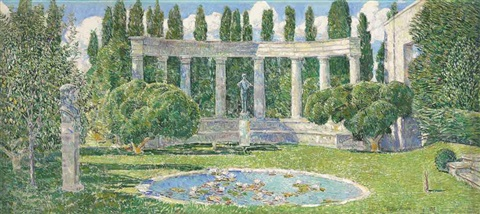 the bartlett garden amagansett long island by childe hassam