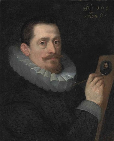portrait of a gentleman, aged 40, in a black coat and white ruff, painting a miniature by hans von aachen