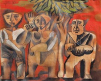 three figures under a tree by avraham ofek