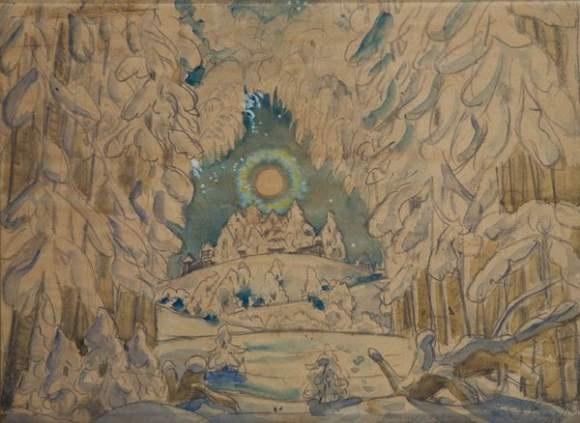 projet de décor pour le prologue de lopéra snegurochka de nikolai rimsky korsakov by boris mikhailovich kustodiev