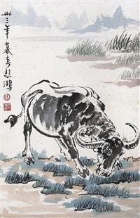 水牛图 镜片 设色纸本 ( buffalo) by xu beihong