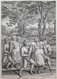 deux groupes de paysans se dirigeant vers la droite (after brueghel) by hendrik hondius the elder