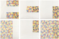 six lithographs series (after untitled 1975) (set of 6) by jasper johns