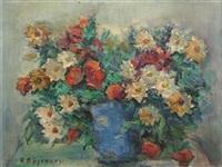 flowers in blue vase by dan bajenaru