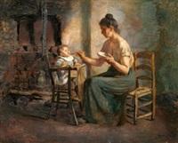 escena de madre con su hijo by ventura alvarez sala