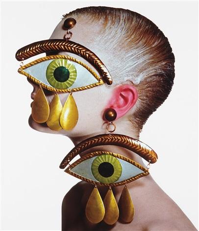gaultier eye earrings, new york, january 26 by irving penn