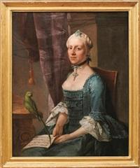 Portrait einer vornehmen Dame mit Papagei und...