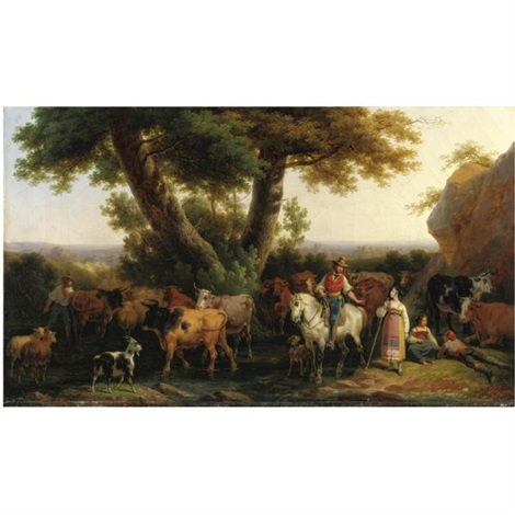 paesaggio pastorale nella campagna romana by hippolyte lecomte