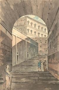 treppenflucht im vatikan mit blick auf eine loggia by giacomo quarenghi