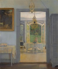 interior with afternoon sun by georg nicolaj achen