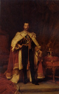 coronation portrait of king george v in an interior by william a. menzies