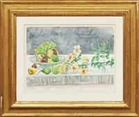 stilleben med frukt och blommor by hilding linnqvist
