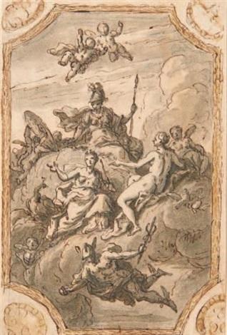 projet de plafond avec minerve, junon, vénus et mercure et étude de femmes tenant des bouquets (2 works) by sir james thornhill