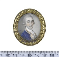 a gentleman, wearing blue coat with white facings, pink borders edged with gold to his collar and facings, white stock and frilled lace chemise, his powdered... by james reily