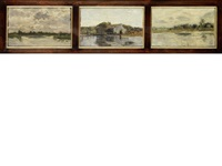 three river landcapes (3 works framed together) by beppe ciardi
