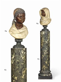 busts of nubian children (pair) by raimondo pereda