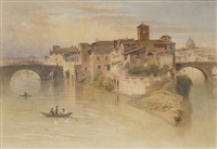 roma, veduta dell'isola tiberina by henry parsons riviere
