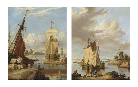 a dutch galliot anchored off a low countries port with two figures two dutch galliots drying their sails at the end of the day pair by john ward