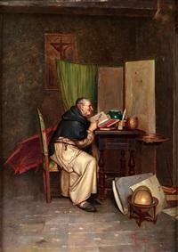 läsande munk by p. lanzoni