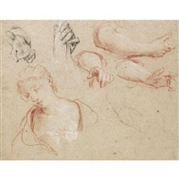 sheet of studies of hands, arms and a young woman, head and shoulders by francois le moyne