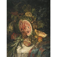 still life of watermelon, grapes, pomegrantes, pineapple and brass on a lace covered ledge by josef fux