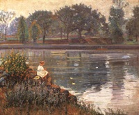 girl seated by a pond by theodore wendel
