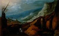 villageois et cavalier empruntant un important pont de pierre dans un paysage montagneux by philips de momper the younger