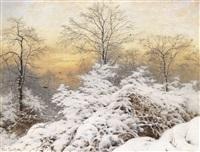 abenddämmerung über einer winterlandschaft by heinrich gogarten