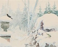 winter landscape with tit birds and a blackbird on hvidøre balcony by olga (grand duchess) alexandrovna