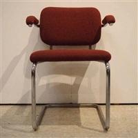 suite de 4 fauteuils visiteurs, modèle cesca by marcel breuer