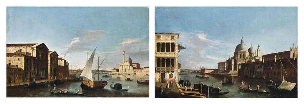veduta dell'isola di san giorgio (+ veduta del canal grande con s. maria della salute; pair) by master of the langmatt foundation views