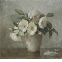 white roses in a vase by anna eliza hardy
