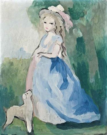 femme debout et son chien by marie laurencin