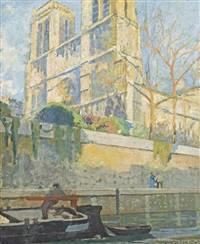 a stroll by the seine at notre dame, paris by lucien victor félix delpy