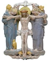 relief gekreuzigter christus mit dem heiligen geist und den 4 evangelisten by joseph breitner