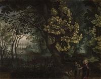 paisaje boscoso con las tentaciones de cristo by david vinckboons