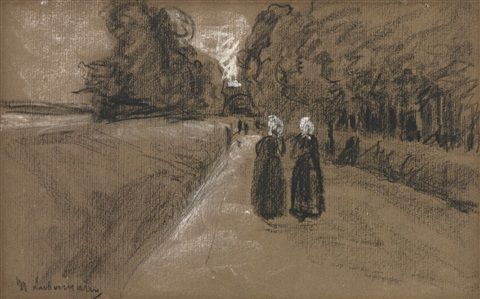 two women on an alley along the zuiderzee study for kirchgang in laren by max liebermann