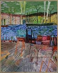 maleri med orange kran by finn heiberg