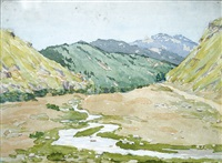 a landscape from rila mountain by hirsto yonchev-kriskaretz